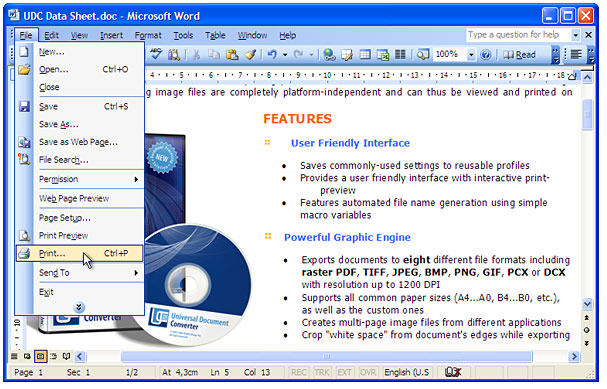 Open the document in Microsoft Word and press File->Print... in application main menu.